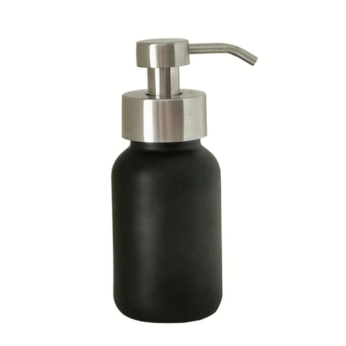 250ml Glass Foaming Soap Dispenser - Black with Silver Pump