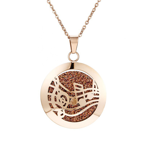 Stainless Steel Diffuser Pendant - Music Rose Gold Simple